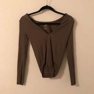 Free people long sleeved olive green body suite